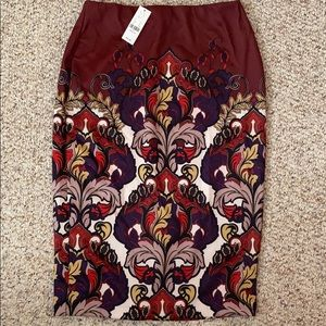 Maroon Floral Pencil Skirt
